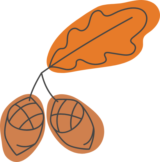 Autumn Acorn Pair