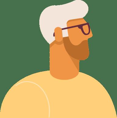 White Hair Bearded Profile Man