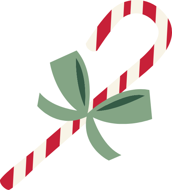 Candy Cane & Green Bow