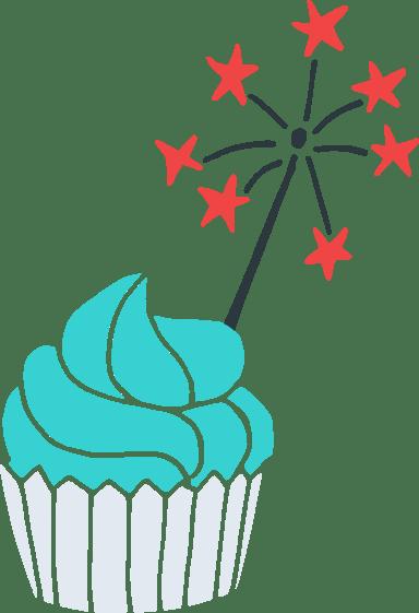 Sparkler Cupcake