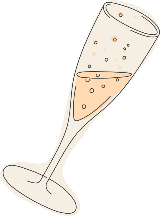 Tilted Champagne Glass