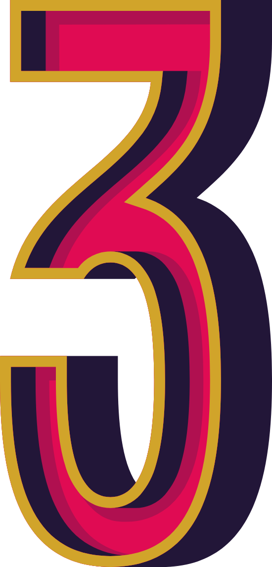 """Marquee Number """"3"""""""