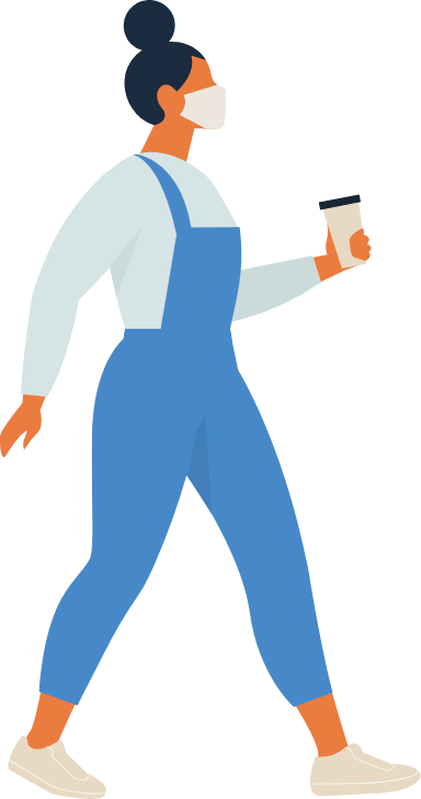 Masked Woman in Overalls