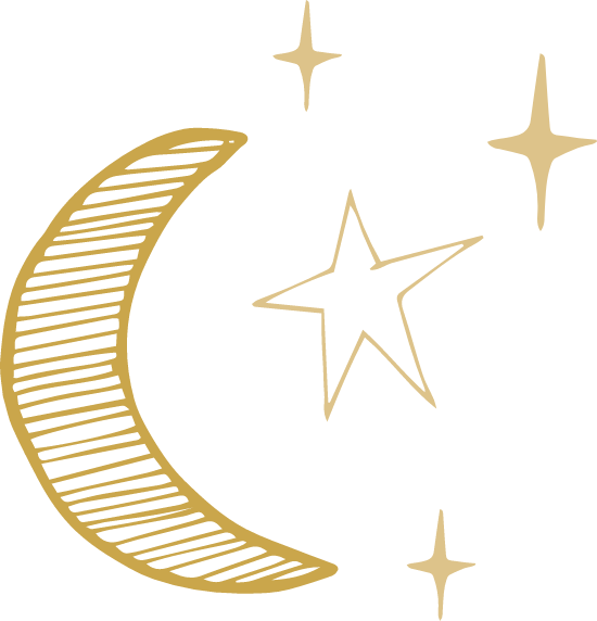 Outlined Moon & Stars