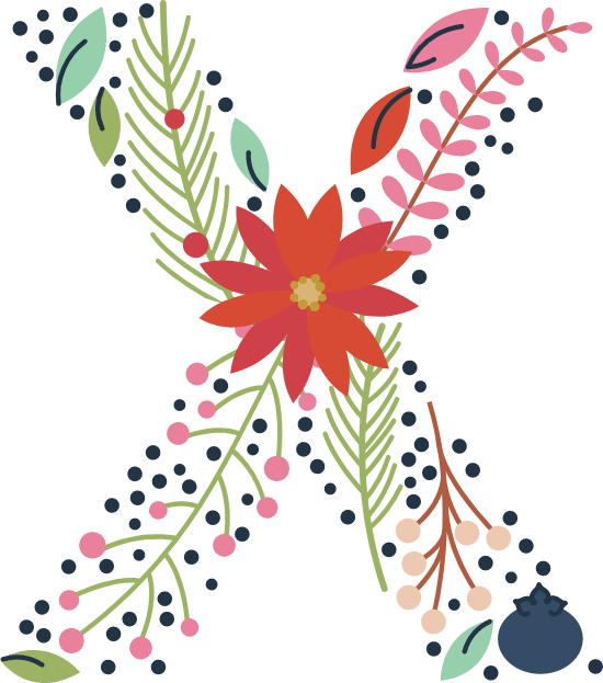 "Floral Letter ""X"""