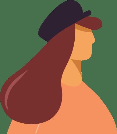 Wearing Cap Profile Woman