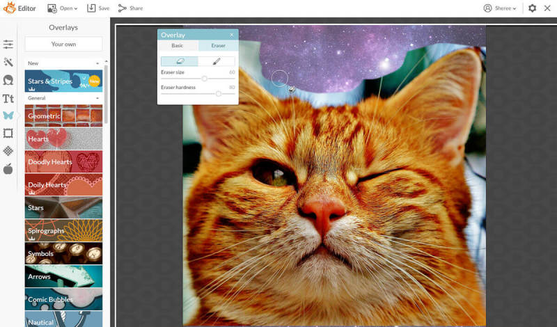 Easily make a meme in PicMonkey by uploading your image as a graphic and then erasing the parts you don't want.