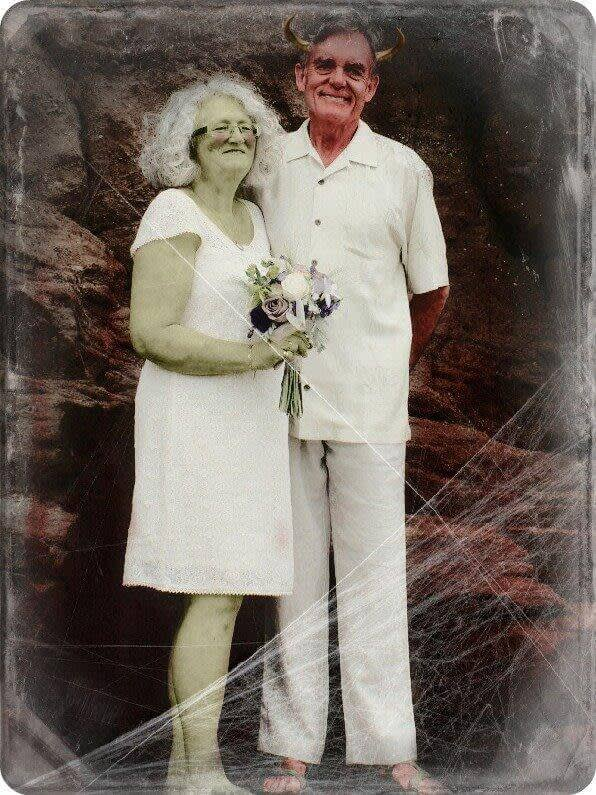 Halloween photo contest: Honorable mention - wedding couple made over as demon/zombies.