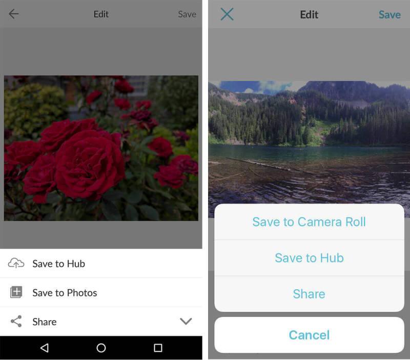 Guardar, Guardar en el Hub, aplicación móvil, almacenamiento Hub, iOS, Android, almacenamiento de fotos, almacenamiento de imágenes, almacenamiento en la nube