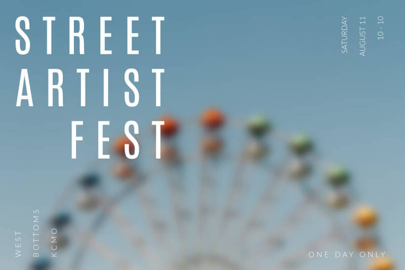 cool photo effect soften over a picture of a ferris wheel promoting street artist fest
