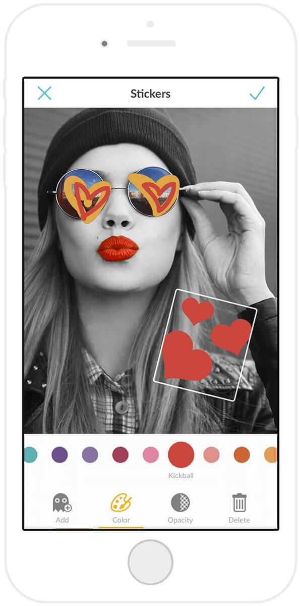 The PicMonkey mobile app features original, made-for-mobile stickers.