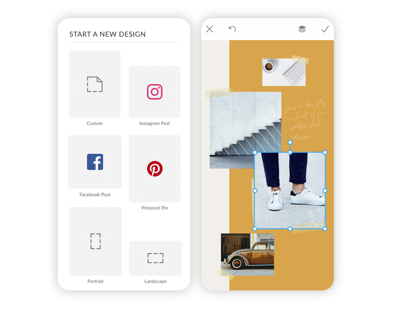 How to make a vision board in PicMonkey Mobile: start with a blank canvas.