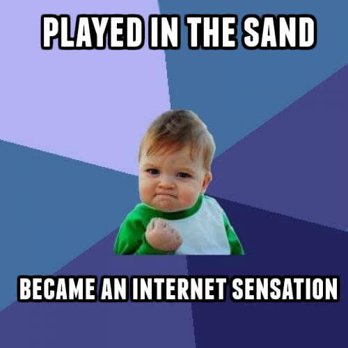 You can easily make a meme, like this version of the popular Success Kid meme, by adding text to photos.