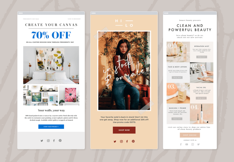 PicMonkey has a variety of email templates and newsletter templates that you can use to boost your online marketing efforts.