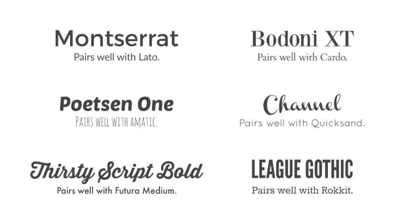 A chart of font pairings can help with your design choices.