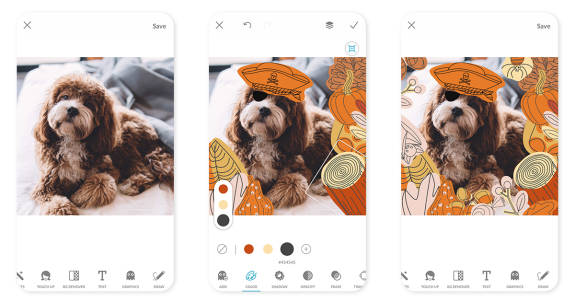 Halloween stickers on your phone in the PicMonkey app