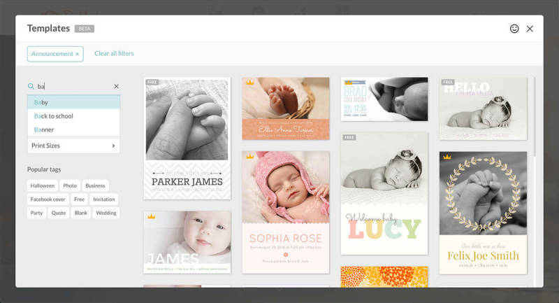 Templates, PicMonkey, Search, Filter, Tags, Categories, Baby, Announcement