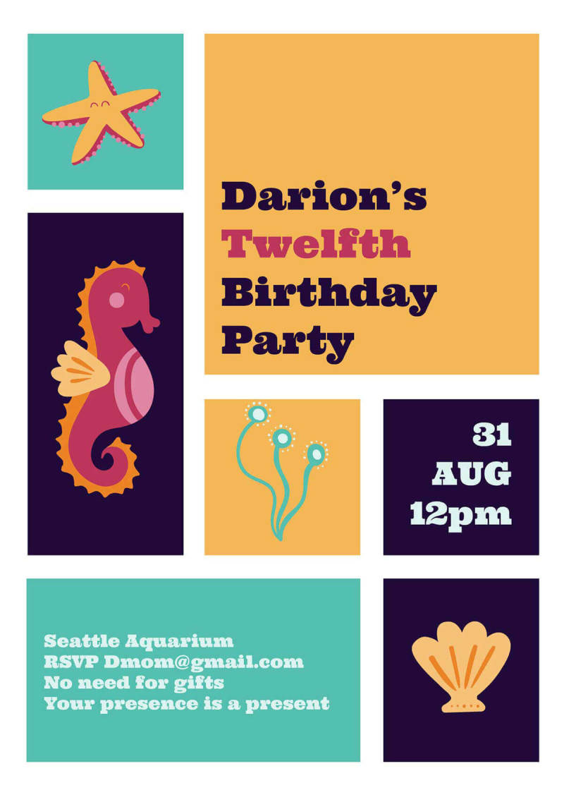 A summer party invitation template featuring seahorse and seashell graphics.