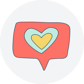 Heart caption sticker