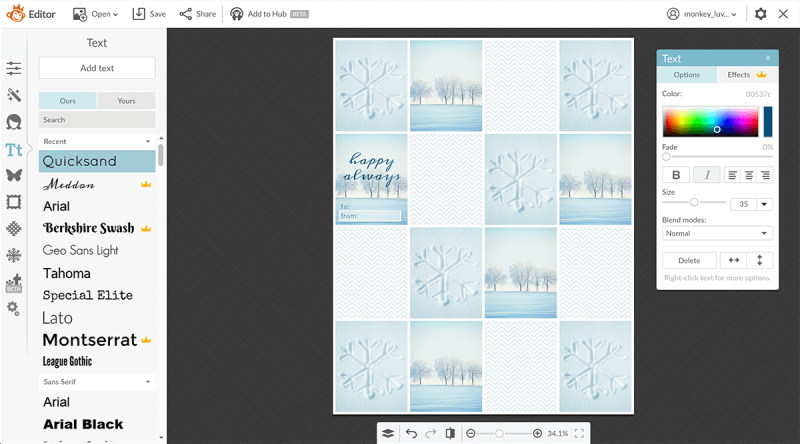 Screenshot of graphics and text being added to printable DIY gift tags.
