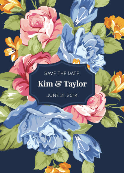 Wedding graphic design: a floral save the date card with label graphic.