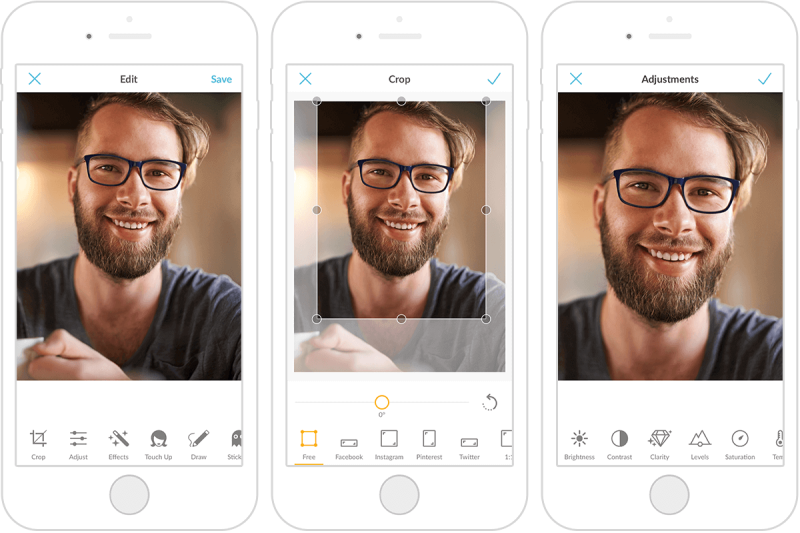 This image of a man with a beard and glasses shows how to use the Crop tool in the PicMonkey mobile app, and get a great social media profile picture.