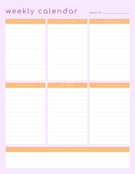 Weekly schedule maker template