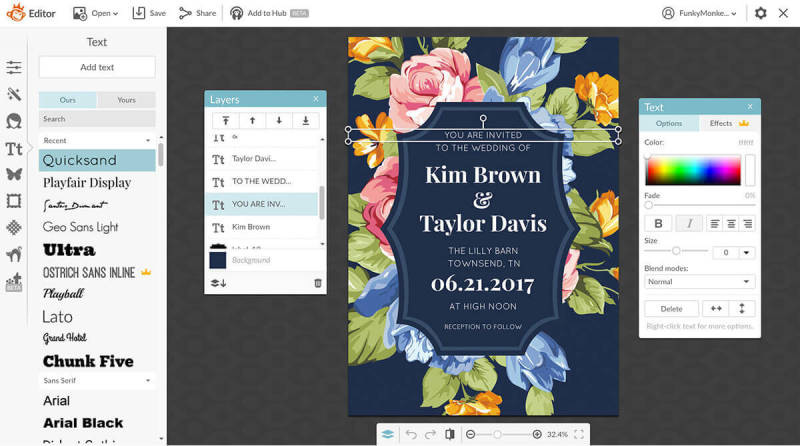 Adjust wedding invitation wording by selecting the text layer you want to edit.