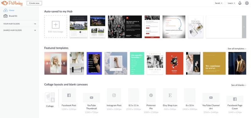 screen shot of PicMonkey hub and homepage