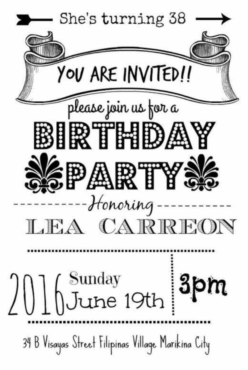 A user-made birthday party invite for her mother, complete with playful typography.