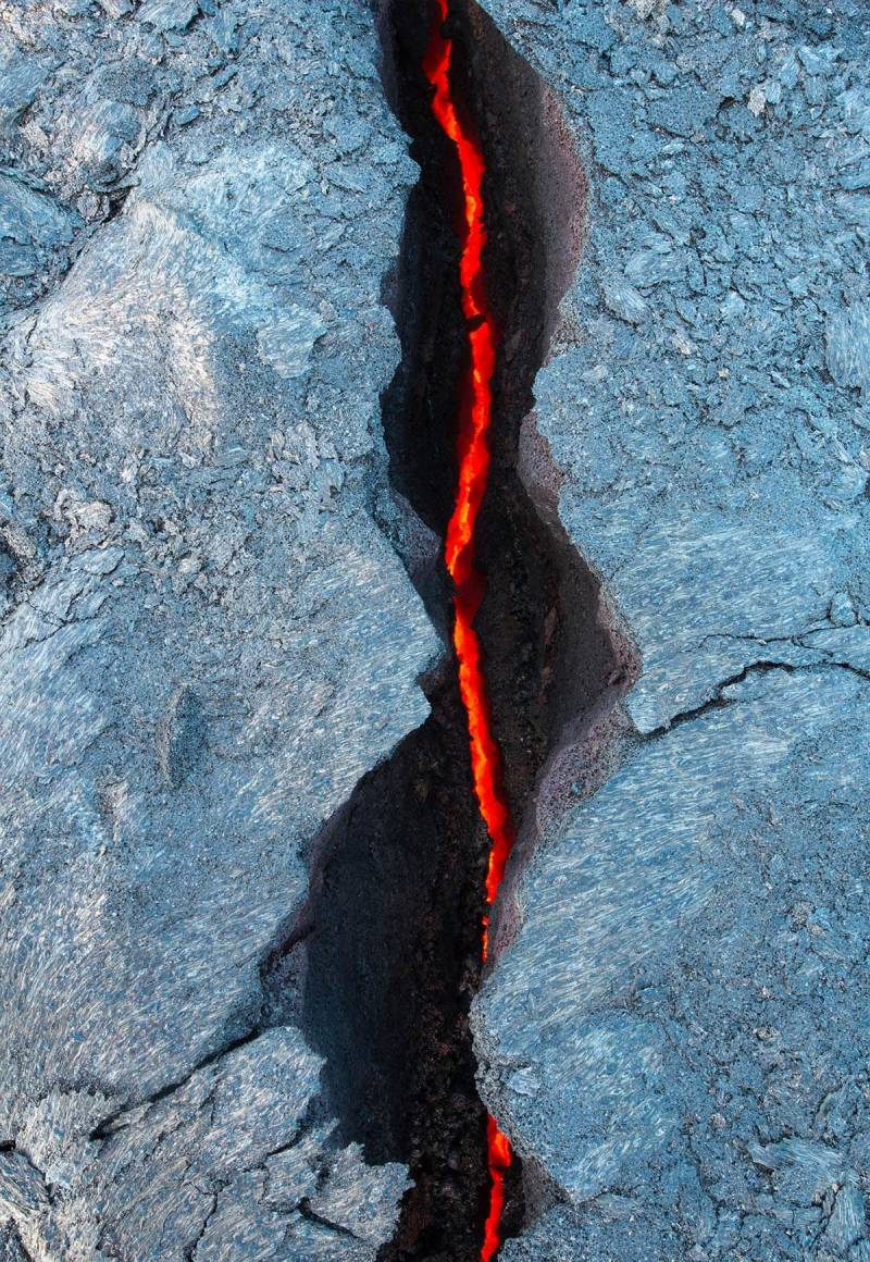 Lava in Hawaii moves slowly but cools quickly.