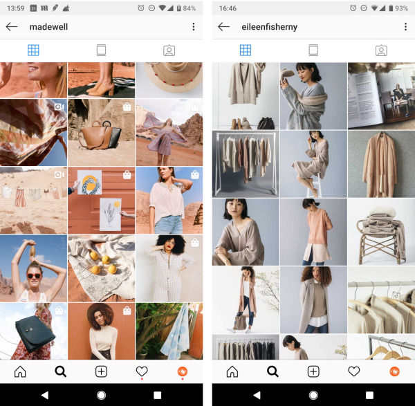brand colors instagram layout
