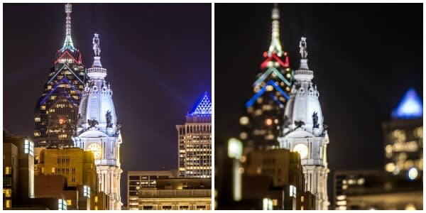 These photos of Philadelphia's city hall show the difference between using a specialty lens to get the miniature effect and using a regular lens.