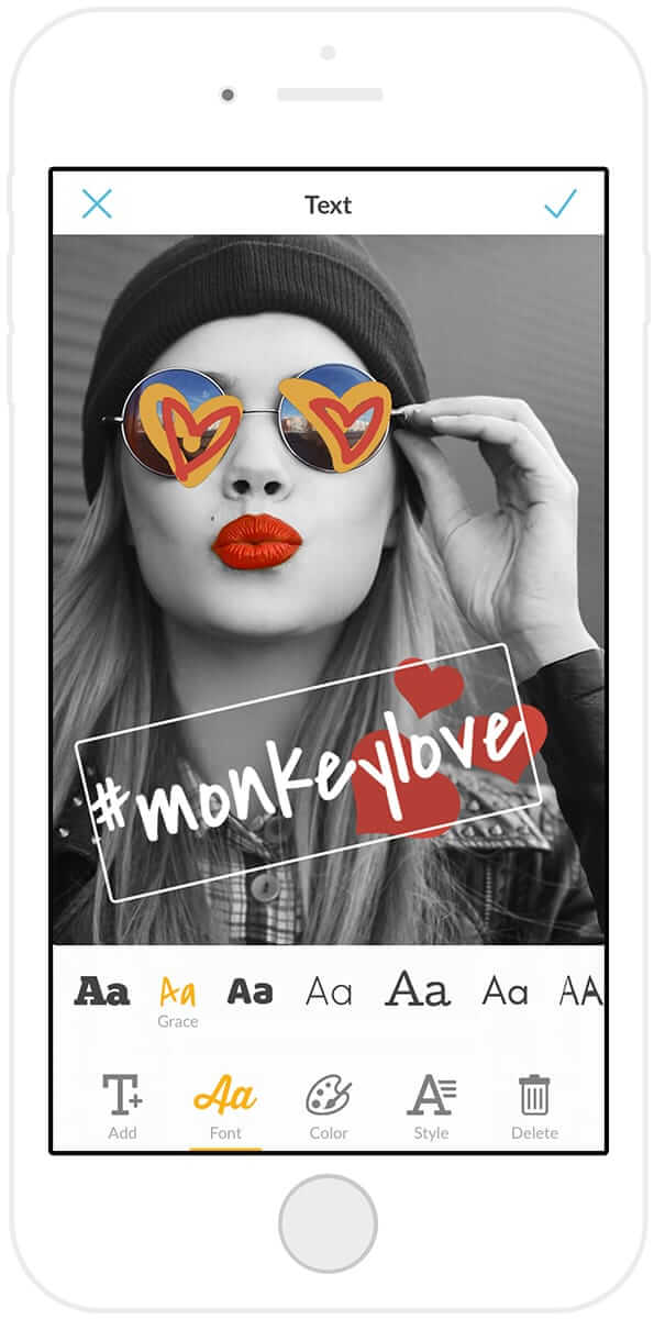 Add text to photos with the PicMonkey mobile app.
