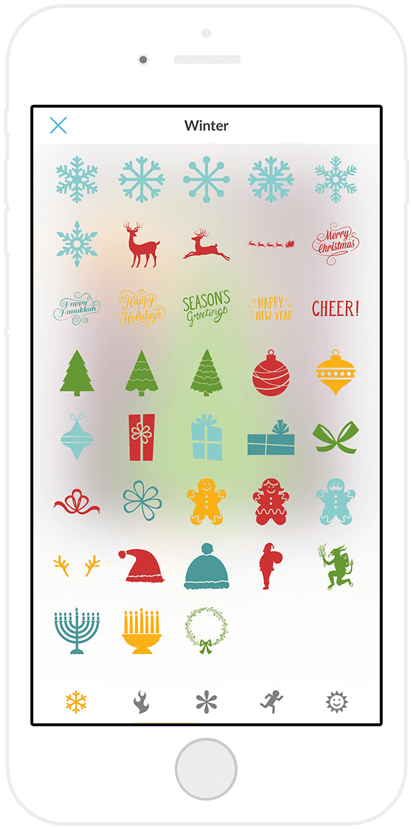 The holiday stickers in the PicMonkey mobile app can help you add some festiveness to your pics.