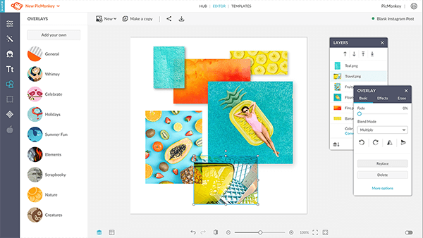 Add images to a blank canvas in PicMonkey.
