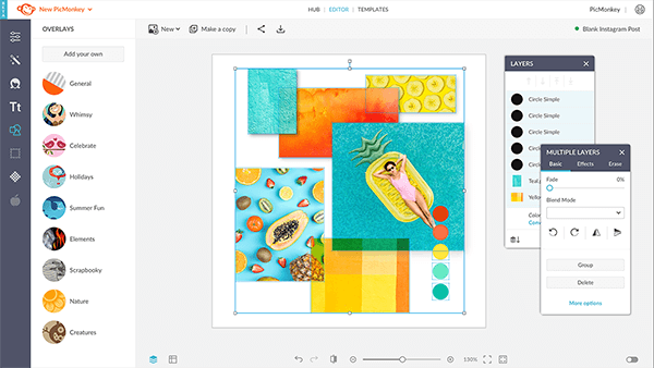 Multiselect design elements using the Layers palette in PicMonkey.