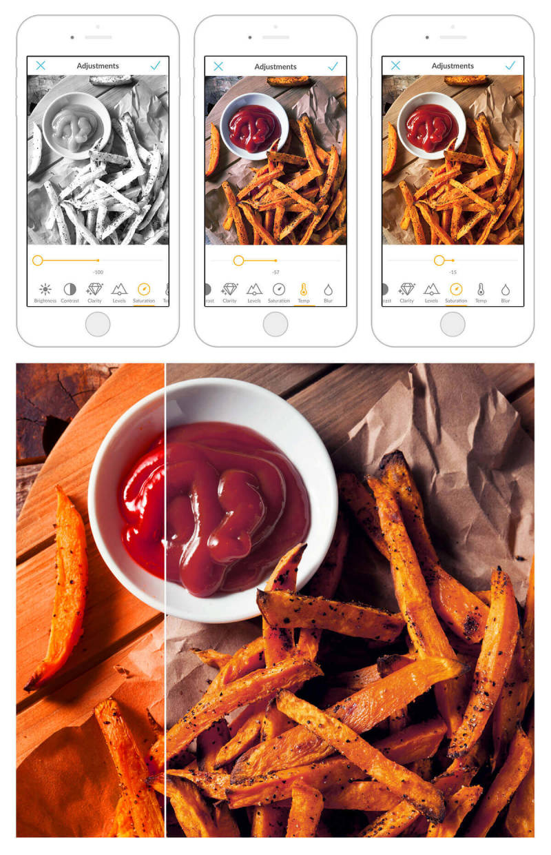 Adjusting the colors in this picture of French fries makes them look extra delicious. Take your food photography to the next level with the PicMonkey mobile app.