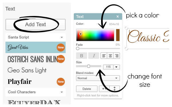 Add Text button and Text palette to customize recipe card text.