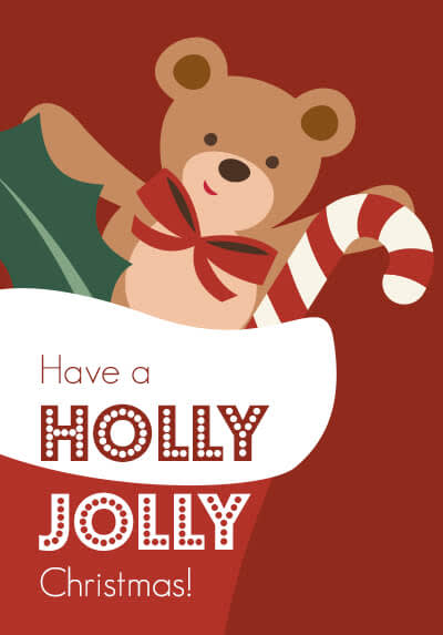 Graphic holiday card with graphics of a teddy bear and candy cane in a stocking.