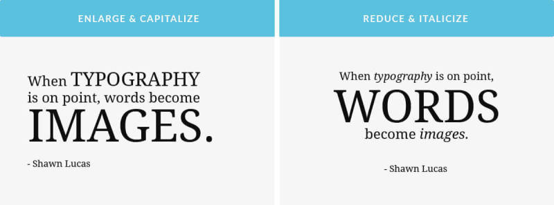 Typographic hierarchy: examples of using font size and weight to change meaning.