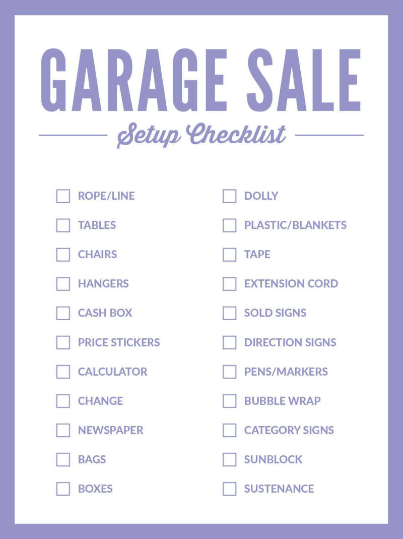 Keep your garage sale organized with a setup checklist.