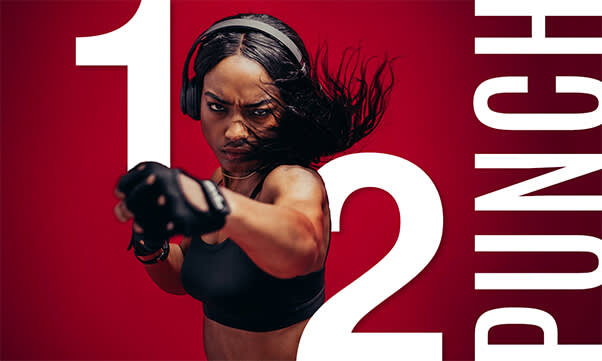 A text on photo design featuring a woman boxing.