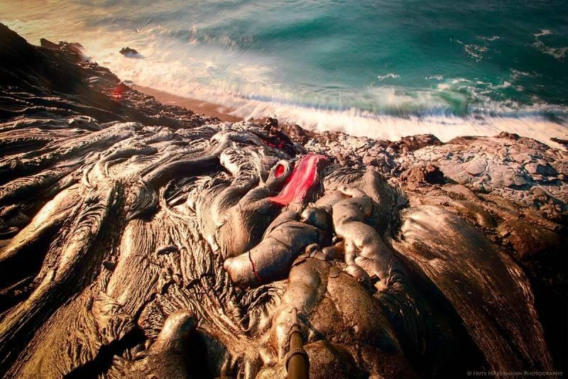 Lava meets water in Hawaii.