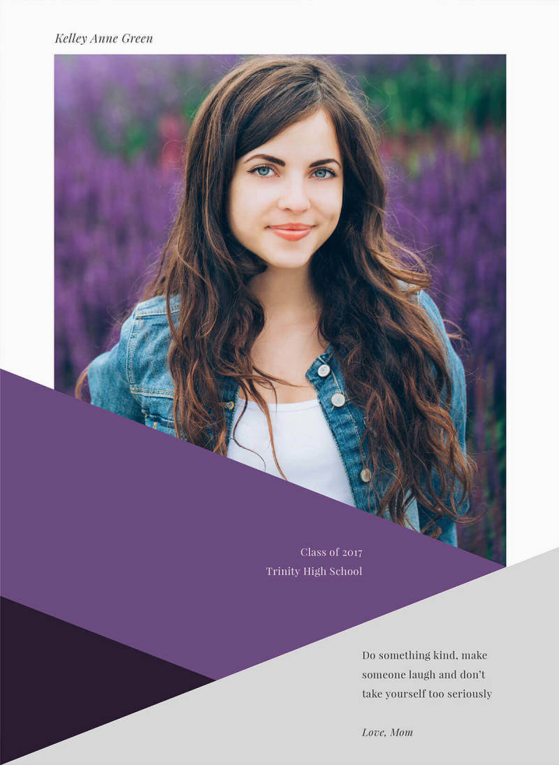 Design senior yearbook ads—like this purple and grey geometric design—with PicMonkey's tools.