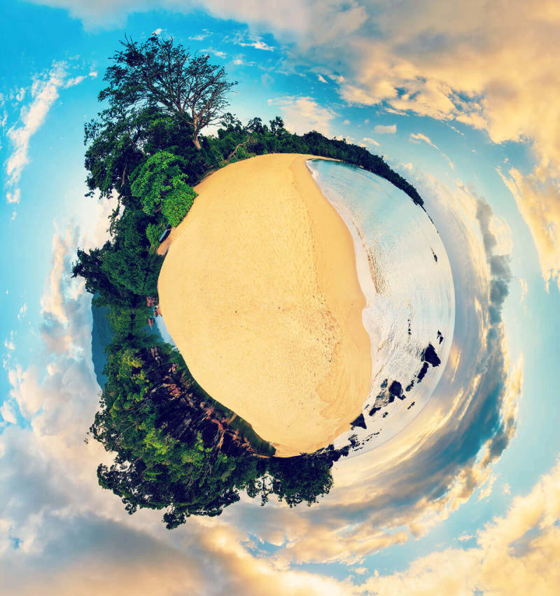 Create reality bending panoramas like this circular sky-and-land image.