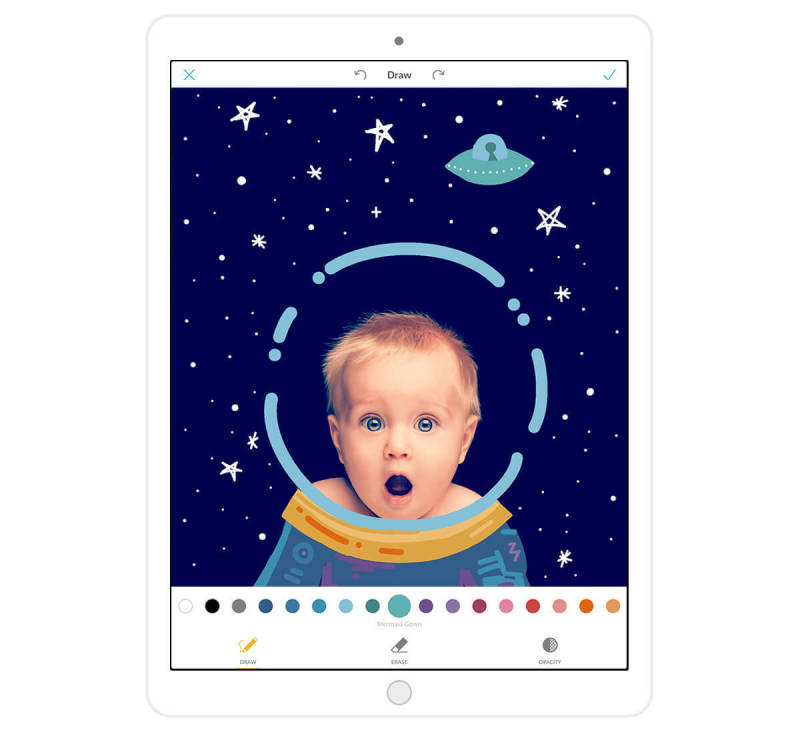 Draw space helmets on pictures of babies (and so much more!) with the PicMonkey mobile app for iPad.