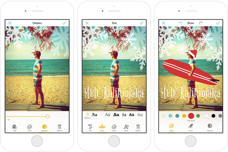 Combining Draw and holiday stickers with the PicMonkey mobile app can create a fesstive scene out of a beachy photo.