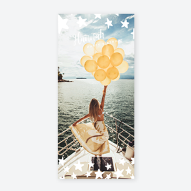 girl with ballons on boat