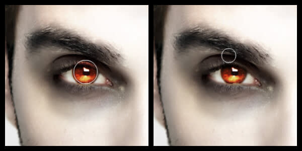Evil Eye Color being applied to photo subject using PicMonkey's vampire effects.